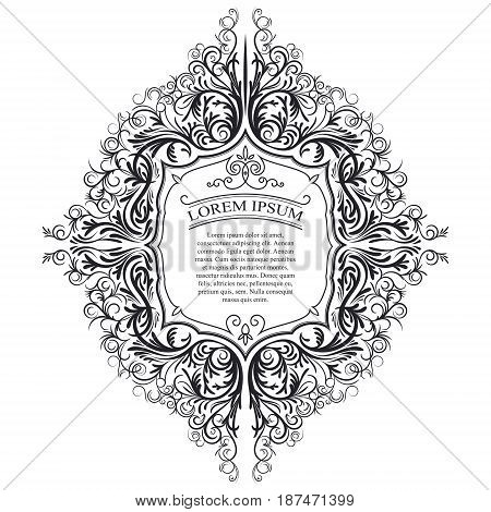 Vector illustration of a vintage ornament, frame. Ideal for invitations to a wedding, anniversary, greeting cards.