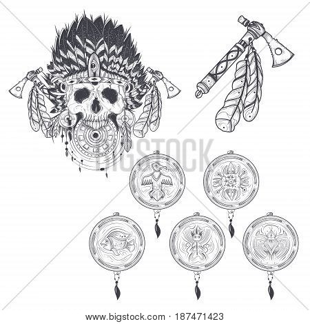 Set of vector illustrations of a templates for a tattoo with a human skull in an indian feather hat, tomahawk and various dream catchers. Design element, print for T-shirts