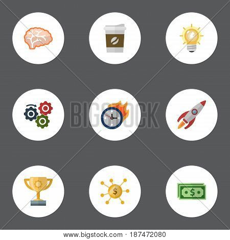 Flat Break, Arise, Incentive And Other Vector Elements. Set Of Projects Flat Symbols Also Includes Gear, Motivation, Cash Objects.