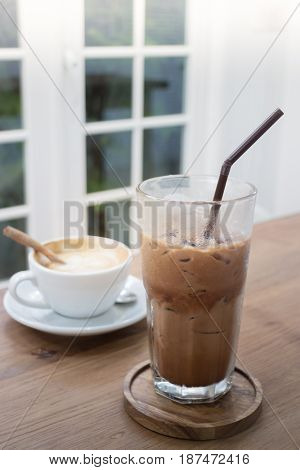 Hot And Cold Coffee Drink stock photo