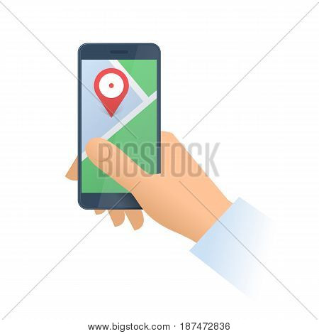 A human holds the phone with a navigation map on the screen. Modern technology smart phone apps cartography and gps flat concept illustration. Vector design element isolated on white background.