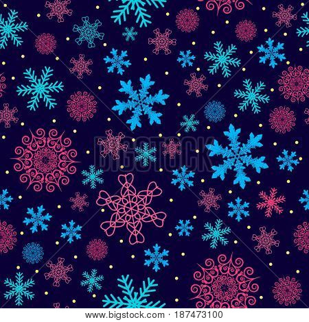 Christmas pattern made of snowflakes and dots, winter seamless background with snow, xmas design holiday illustration.