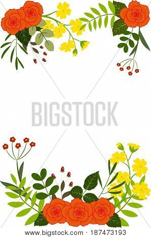 Greetings card orange roses, yellow flowers and leaves, isolated on white background, vector illustration