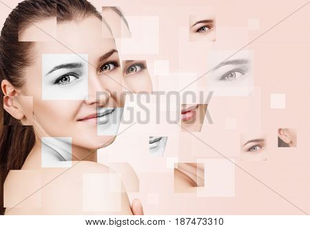 Young woman's face collected from different parts over beige background