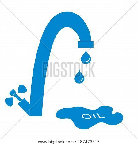 Stylized Icon Of The Faucet With Drops Of Fuel And The Inscription Oil In A Puddle