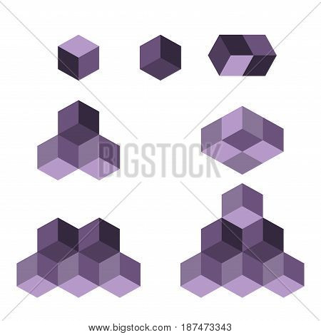 Cube logo concept, vector illustration. Flat design style. Cube construction. Sign pattern. Graphic design. Fashion background abstract texture. Template for print, textile, wrapping.