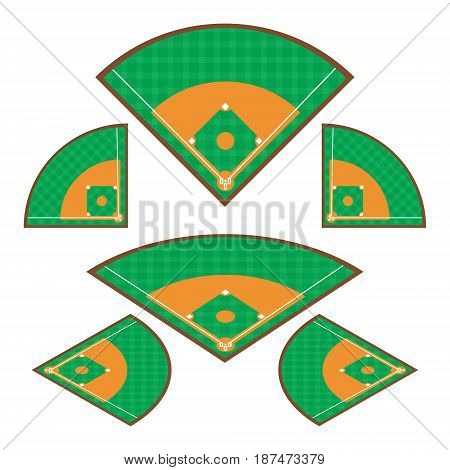 Set of Baseball Fields with any angle on white background. Vector illustration Baseball Fields concept design.