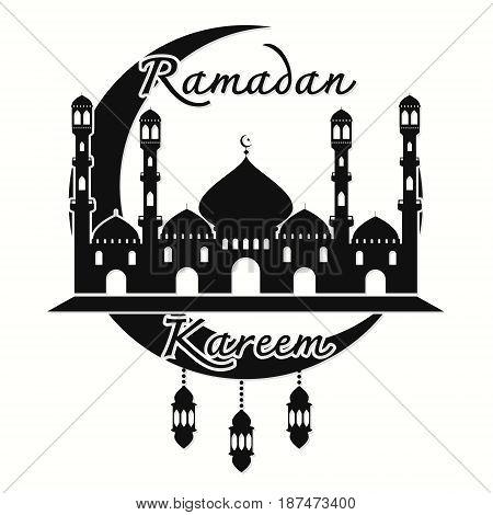 Ramadan Kareem islamic holy holiday beautiful with arabian city greeting card design. Vector illustration happy Ramadan Kareem.