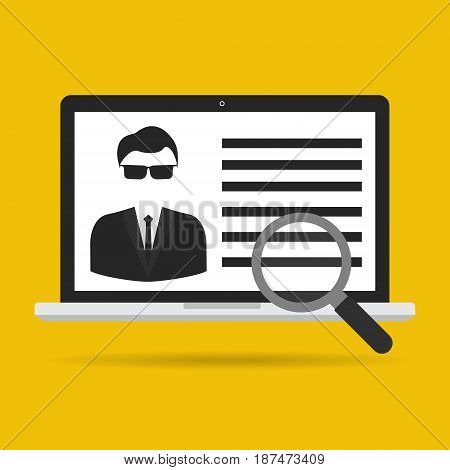 Computer laptop with magnifying glass for user identified. Vector illustration user authentication business security concept.