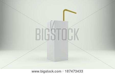 Blank milk or juice carton package with straw over gray background. 3D rendering