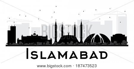 Islamabad City skyline black and white silhouette. Simple flat concept for tourism presentation, banner, placard or web site. Cityscape with landmarks.