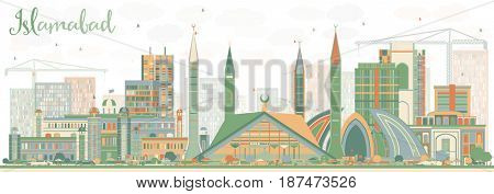 Abstract Islamabad Skyline with Color Buildings. Business Travel and Tourism Concept with Historic Architecture. Image for Presentation Banner Placard and Web Site.