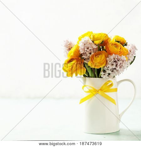 Beautiful spring flowers in vase