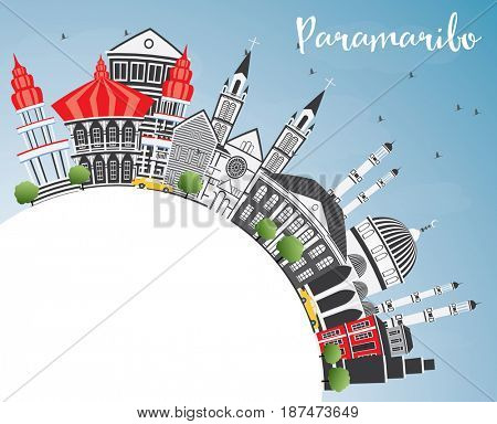 Paramaribo Skyline with Gray Buildings, Blue Sky and Copy Space. Business Travel and Tourism Concept with Modern Architecture. Image for Presentation Banner Placard and Web Site.
