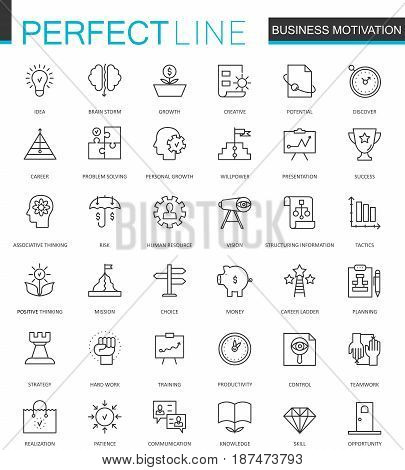 Business motivation thin line web icons set. Brain productivity concentration outline stroke icons design