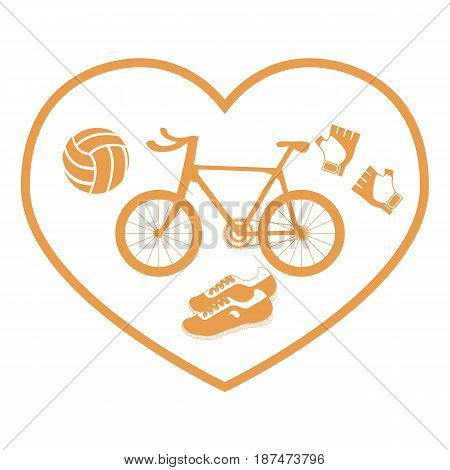 Stylized Icon Symbolizing Love For Sport: Inside The Heart Of The Bike, Gloves, Volleyball And Sneak