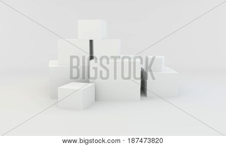 Stack of white different boxes isolated on white. 3d rendering.