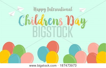 Childrens day greeting card background style vector art