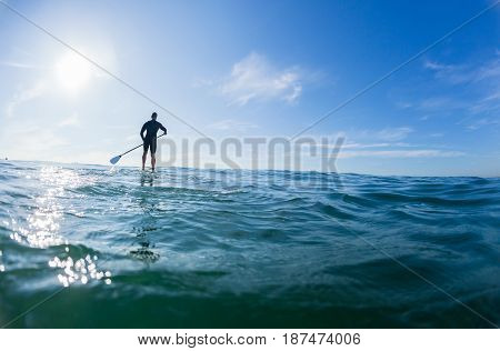 Surfer Paddle Board Ocean Blue Horizon