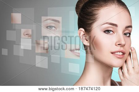 Young woman's face collected from different parts over gray background