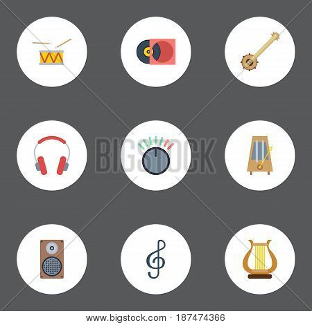 Flat Knob, Quaver, Audio Box And Other Vector Elements. Set Of Audio Flat Symbols Also Includes Audio, Speaker, Control Objects.