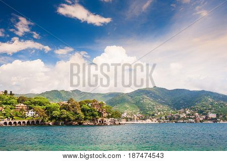 View From The Sea To Rapallo, Liguria, Italy.