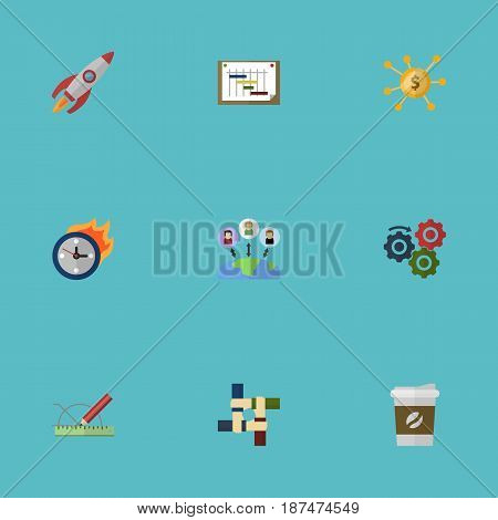 Flat Rocket, Break, Limit And Other Vector Elements. Set Of Startup Flat Symbols Also Includes Schedule, Financing, Support Objects.