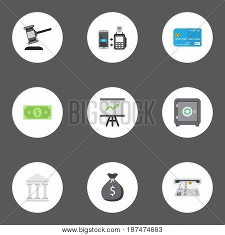 Flat Bank, Strongbox, Payment And Other Vector Elements. Set Of Banking Flat Symbols Also Includes Auction, Safe, Growing Objects.