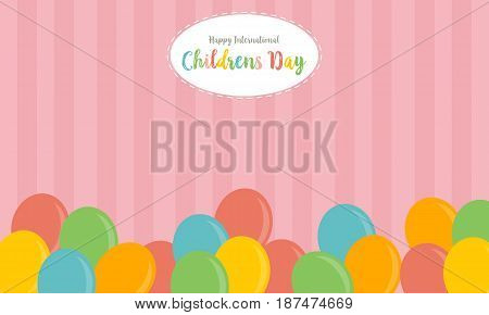 Colorful balloon background childrens day vector art