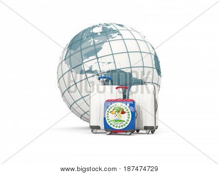 Luggage With Flag Of Belize. Three Bags In Front Of Globe
