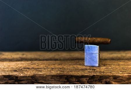 Beautiful background of a table with wood on it cigars
