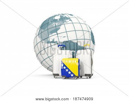 Luggage With Flag Of Bosnia And Herzegovina. Three Bags In Front Of Globe