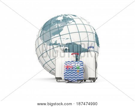 Luggage With Flag Of British Indian Ocean Territory. Three Bags In Front Of Globe
