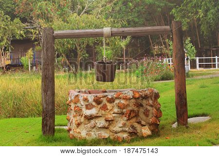 Pond groundwater well Made of stone at outdoor