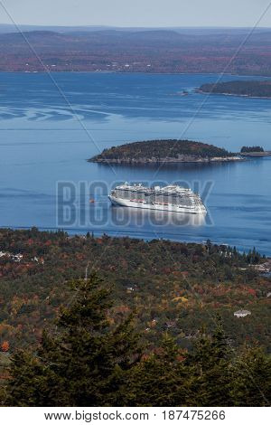 BAR HARBOR- OCTOBER 11 : Regal Princess view from Cadilacv Mountain  a Royal-class cruise ship operated by Princess Cruises is docking in Bar Harbor, USA on October 11, 2016
