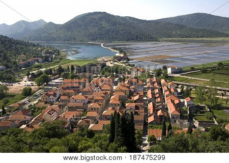 Ston town located at the south of isthmus of the Pelješac peninsula