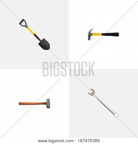 Realistic Claw, Handle Hit, Spade Vector Elements. Set Of Tools Realistic Symbols Also Includes Sledge, Instrument, Key Objects.