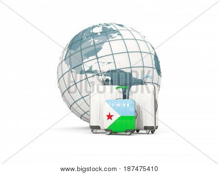Luggage With Flag Of Djibouti. Three Bags In Front Of Globe
