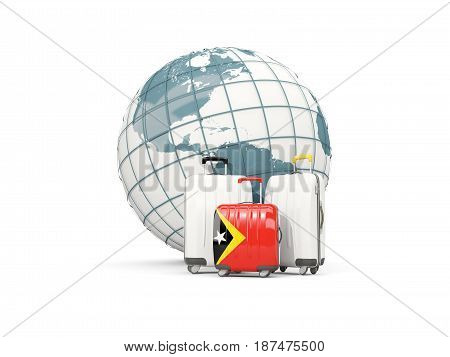 Luggage With Flag Of East Timor. Three Bags In Front Of Globe