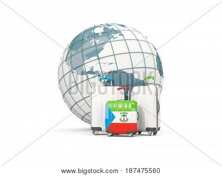 Luggage With Flag Of Equatorial Guinea. Three Bags In Front Of Globe