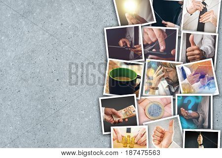 Business and entrepreneurship photo collage over gray concrete background