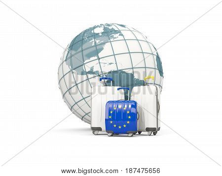 Luggage With Flag Of European Union. Three Bags In Front Of Globe