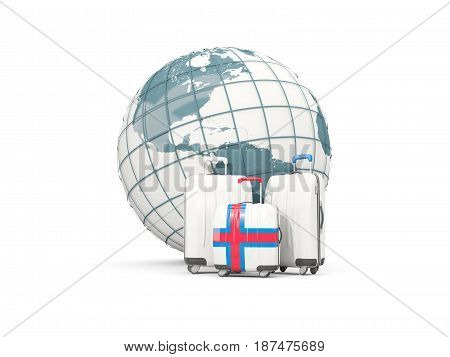 Luggage With Flag Of Faroe Islands. Three Bags In Front Of Globe