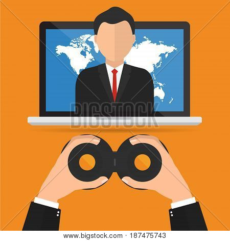 Recruitment with binocular looking a candidate internet jobs online position. Vector illustration customer relationship management (CRM) and headhunter human resources concepts.