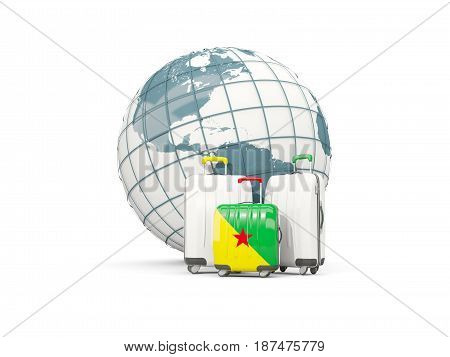 Luggage With Flag Of French Guiana. Three Bags In Front Of Globe
