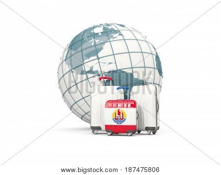 Luggage With Flag Of French Polynesia. Three Bags In Front Of Globe