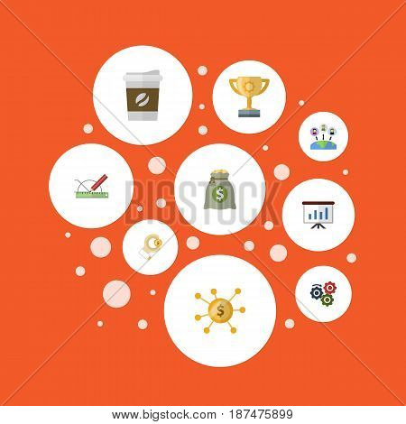 Flat Coin, Break, Income And Other Vector Elements. Set Of Startup Flat Symbols Also Includes Hand, Leader, Coin Objects.