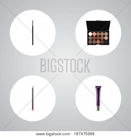 Realistic Mouth Pen, Day Creme, Contour Style Kit And Other Vector Elements. Set Of Greasepaint Realistic Symbols Also Includes Palette, Lip, Eyeshadow Objects.
