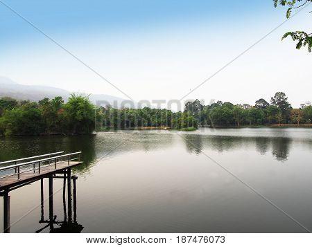 Ang Kaew reservoir at Chiang Mai University in Thailand