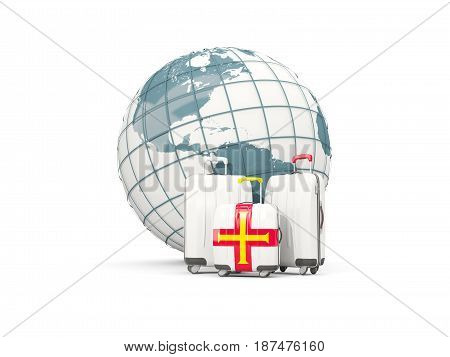 Luggage With Flag Of Guernsey. Three Bags In Front Of Globe